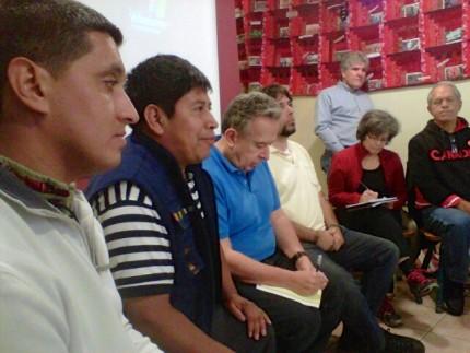 "Inter Pares' ""Just Work?"" Tour at the Windsor Workers Action Centre. (L-R) Father Juan Luis Carbajal Tejeda, José Sicajau, Bill Fairbairn, Diego Lorente and other participants. Photo: Inter Pares"
