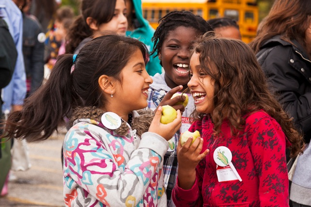 Students enjoy local apples at Eat in Ontario, a FoodShare Toronto food literacy event. Credit: Laura Berman/GreenFuse Photography.