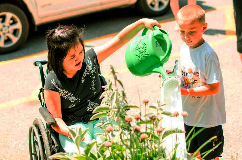 Watering the Seeds for Change garden as a team at James Robinson PS. Credit: Lynne Koss.
